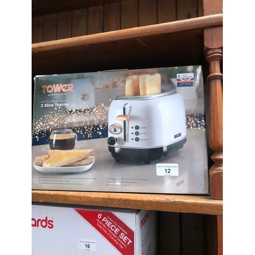12 - A boxed Tower Bottega rose gold edition 2 slice toaster....