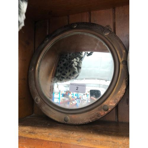 2 - Copper circular wall mirror