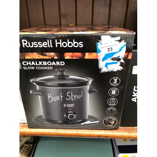 23 - A boxed Russell Hobbs Chalkboard slow cooker...