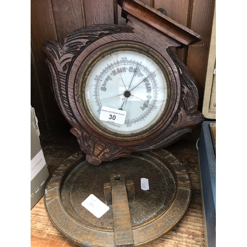 30 - A repro sundial and a wall hanging barometer...