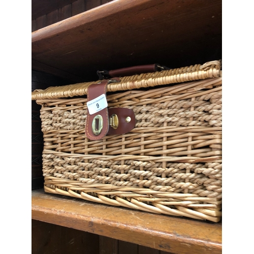 9 - A wicker picnic basket ( empty ) and a leather umbrella stand....