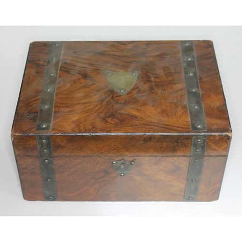 15 - A late Victorian walnut work box, length 30cm....