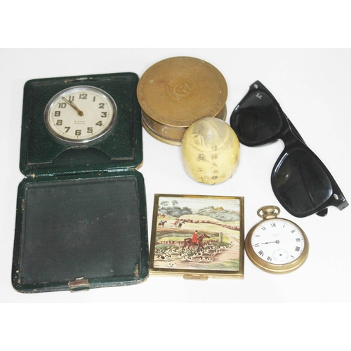 33 - A mixed lot comprising a travel clock, a brass trinket box, a Smiths pocket watch, a vintage compact...