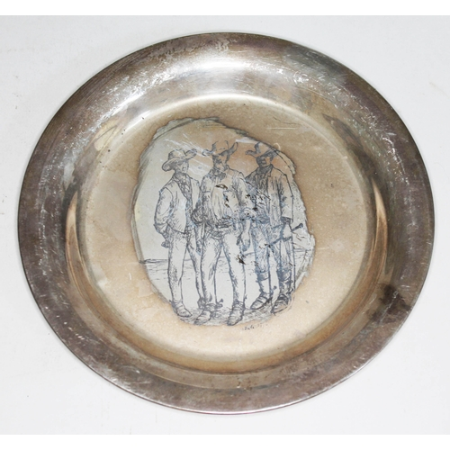 45 - A hallmarked silver dish 'The Stockmen', diam. 20.5cm, wt. 7oz....