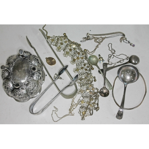 29 - A quantity of silver and silver plate including an eastern white metal footed dish....