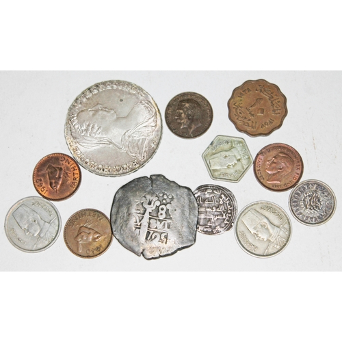 35 - A mixed lot of coins including a Spanish America 8 reales cob and a silver thaler....