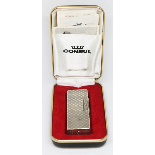 41 - A cased Consul silver plated lighter....