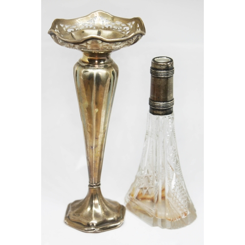 47 - A hallmarked silver vase and a cut glass vase with hallmarked silver collar, heights 13.5cm & 17.5cm...