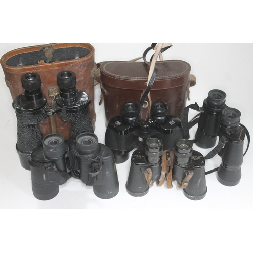 8 - Five pairs of binoculars including a pair of Canadian WWII military binoculars, Ross etc....