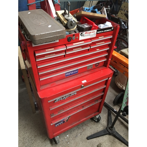11 - A Snap-On multi-drawer wheelie tool chest complete with tools....