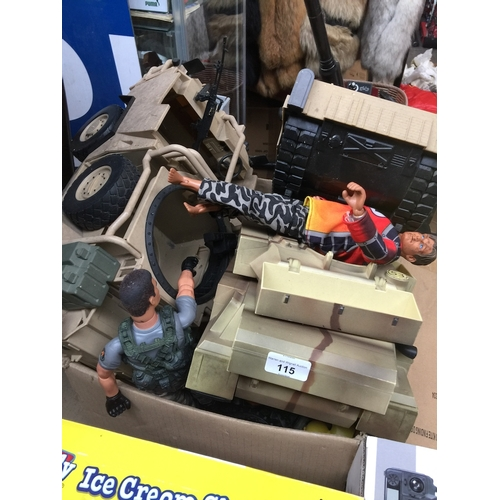 115 - A box of Action Man, accessories - tanks, etc...