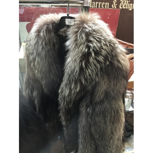 132 - A silver fox fur jacket, plain model, no pockets, appears without damages....