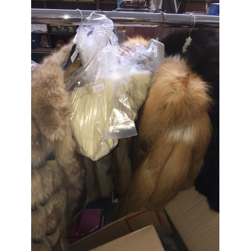 133 - 3 fur jackets and a stole, one being red fox fur, one with leather
