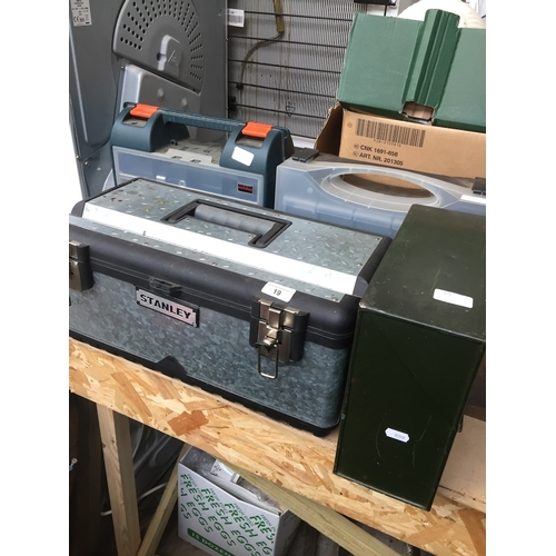 19 - 4 toolboxes with various bits and electrical items....