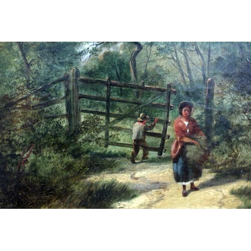 11 - Benjamin Callow (British, active 1851-1869), A Woodland Walk, oil on canvas, 54.5cm x 37cm, indistin...