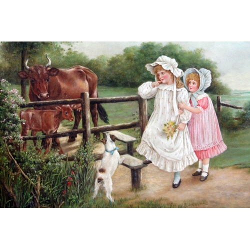 12 - Reuben Hunt (1879-1962), children and dog crossing a stile into a field with cows, oil on canvas lai...