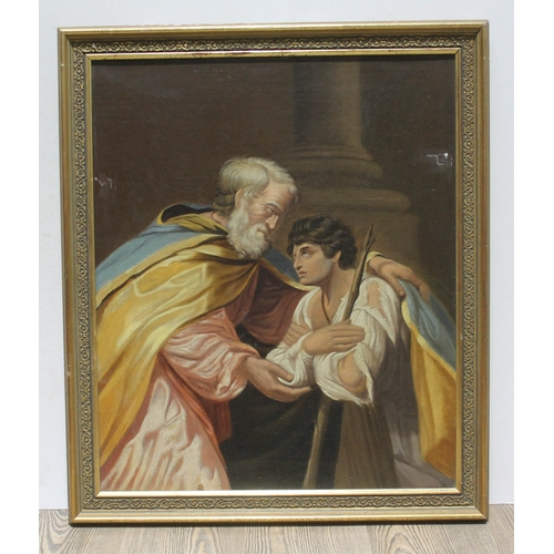 15 - 18th/19th Century School, Biblical scene, oil on canvas, 49.5cm x 60cm, unsigned, later frame 59cm x...