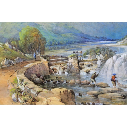16 - 19th Century School, mountain landscape with cattle and fishermen, watercolour, 80cm x 56cm, unsigne...