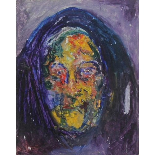 9 - James Lawrence Isherwood (1917-1989), untitled shawl woman, oil on board, 36cm x 46cm, unsigned, unf...
