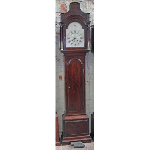 30 - An 18th century mahogany longcase clock, the brass four pillar movement striking on single bell, the...