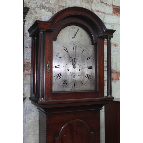 31 - An 18th century mahogany longcase clock, the brass five pillar movement striking on single bell, the...
