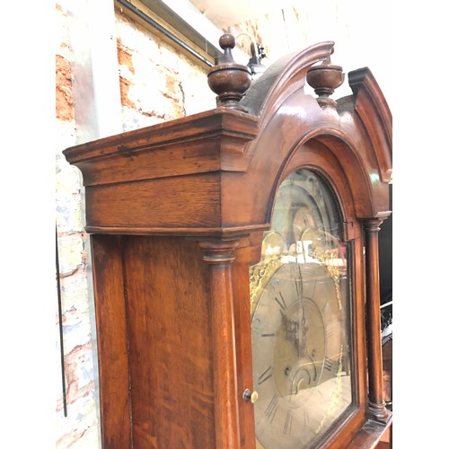 26 - An 18th century oak eight day long case clock, four pillar brass movement striking on single bell, 1...