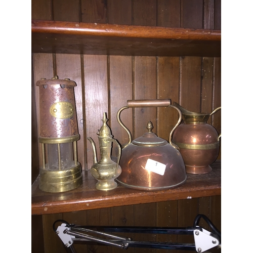 1 - Collection of brass and copperware to include lamp....