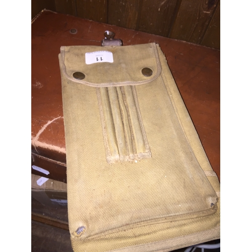 11 - A WWII khaki fold out map case....