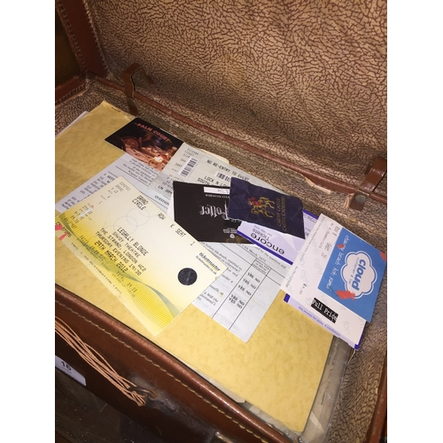 16 - A vintage case containing theater tickets, etc....