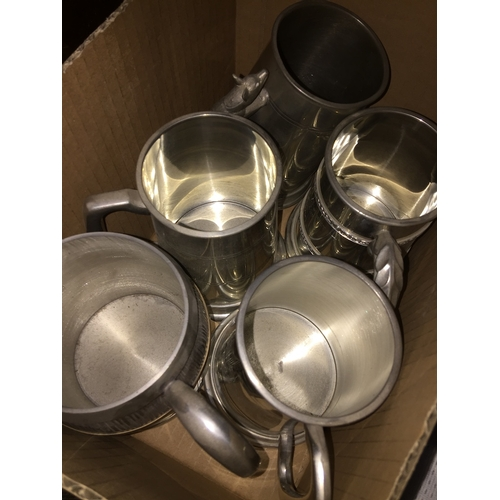 53 - A quantity of plated tankards...