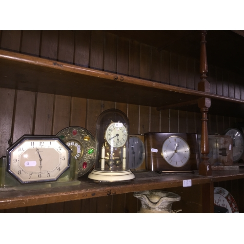 7 - 7 clocks to include Metamec, Westclox, Forsyth, onyx, Paico enamel and glass domed, etc.