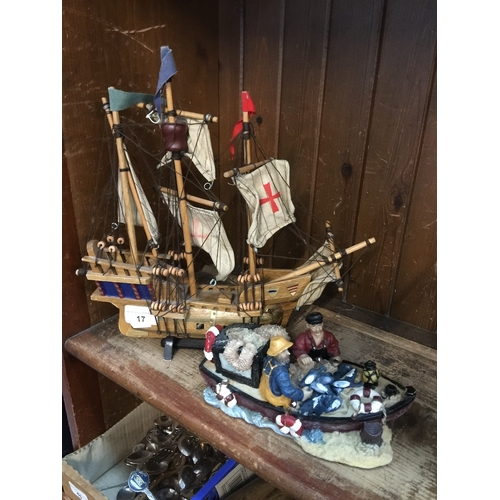 17 - A model galleon and fishing boat...