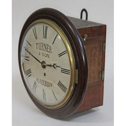 11 - A late 19th century mahogany cased wall clock, brass bezel with domed glass, 10