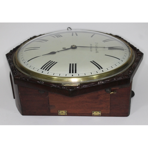 18 - A 19th century mahogany cased wall clock, with octagonal case, 13