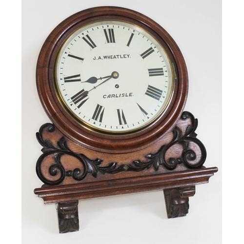 20 - A late 19th century oak cased wall clock, 12