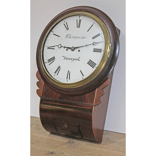 21 - An early 19th century mahogany cased drop dial wall clock with 12