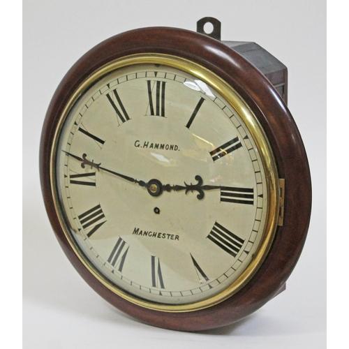 26 - A Victorian mahogany cased wall clock, the 13