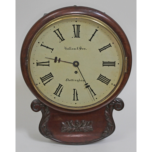 29 - A 19th century mahogany cased drop dial wall clock, the 12