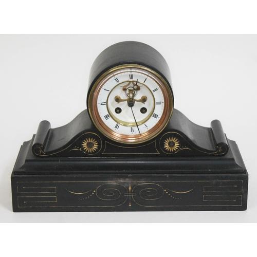32 - A Victorian black slate mantle clock with visible brocot escapement, length 35cm.