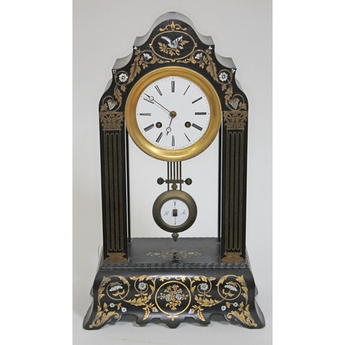 36 - A French mother of pearl and brass inlaid ebonised portico clock, height 49.5cm....