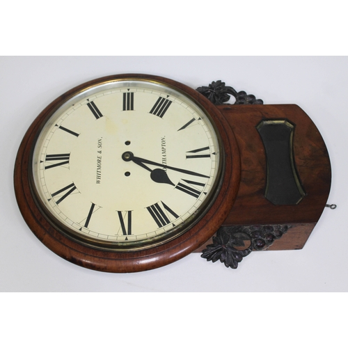 40 - A 19th century drop dial double fusee wall clock, the 12