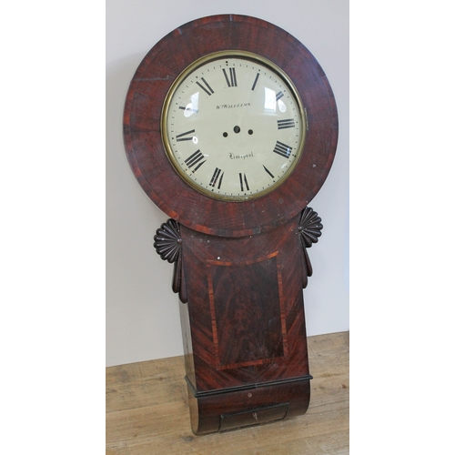44 - A mahogany tavern type drop dial wall clock, second quarter of the 19th century with 12