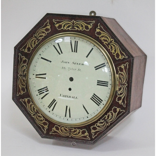 54 - A 19th century brass inlaid rosewood wall clock case of octagonal form and dial signed John Seyer 33...