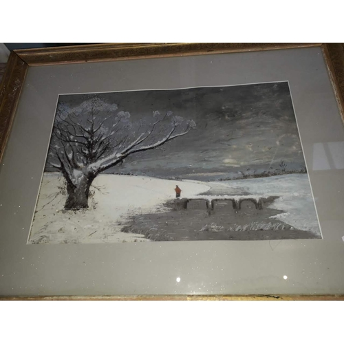 12 - 19th century School, winterscene, monogrammed 'WH' and dated 1867, glazed and framed....