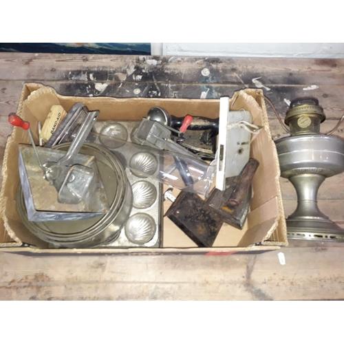 15 - A box of kitchenalia, lamp, lock etc....