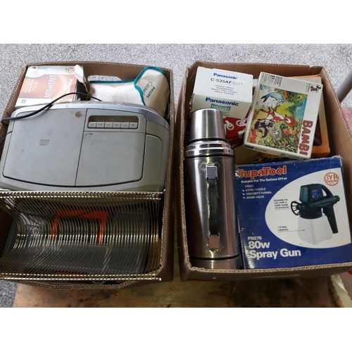 16 - Two boxes of household items including tool boxes, flask, etc....