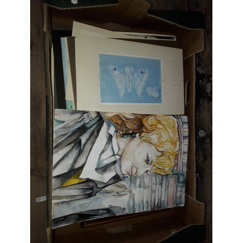 2 - A box of original works, local amateur artist, mainly watercolours....