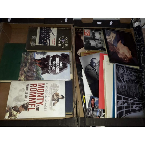 3 - A box of military books and a box of mainly music ephemera....