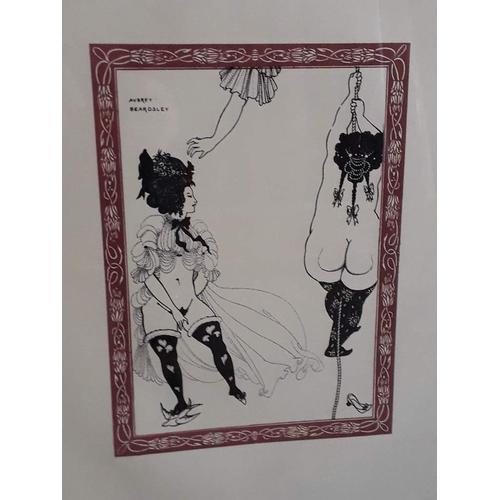 805 - After Aubrey Beardsley, erotic dancers, colour print, 19.5cm x 26.5cm, fascimille signature, glazed ...