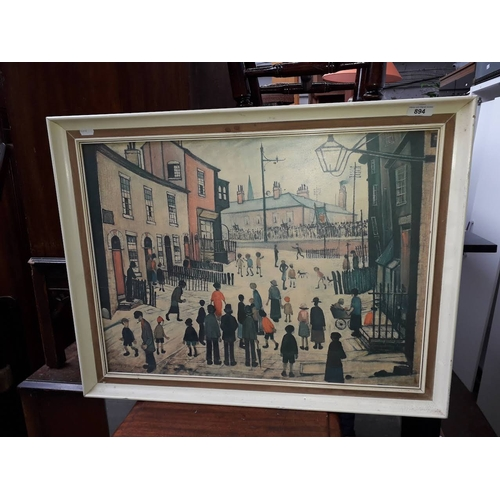 894 - A retro print after LS Lowry, white framed, 69cm x 64cm....